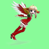 Cute manga angel in festive clothing. With Clippin Stock Photography