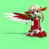 Cute manga angel in festive clothing. With Clippin Royalty Free Stock Image