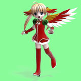 Cute manga angel in festive clothing. With Clippin Royalty Free Stock Photo