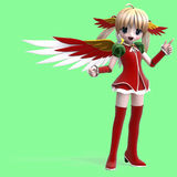 Cute manga angel in festive clothing. With Clippin Royalty Free Stock Photos