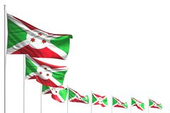 Cute many Burundi flags placed diagonal isolated on white with place for text - any feast flag 3d illustration. Cute any holiday flag 3d illustration vector illustration