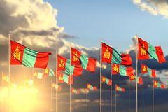 Cute many Mongolia flags on sunset placed in row with soft focus and space for text - any celebration flag 3d illustration. Wonderful any feast flag 3d vector illustration