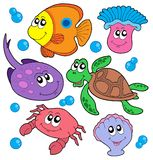 Cute marine animals collection. Vector illustration Stock Photo
