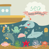 Cute marine background. With turtle, x-ray fish, dolphin, crab, jelly-fish, shark, whale, sea-horses, octopus, starfish, corals and ship in cartoon style Royalty Free Stock Image