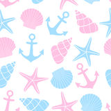 Cute marine life Background. Nautical seamless pattern with starfish, shell, anchor on white background. Baby shower vector illustration. Sea theme. Design for Stock Image