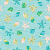 Cute marine vector illustration background. Seamless pattern of seashells. Perfect for fabric, invitations, greeting stock images