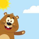 Cute Marmot Cartoon Mascot Character Waving From Corner Stock Photos