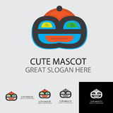 Cute mascot with circle hat and smile out loud royalty free illustration