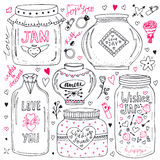 Cute mason jars set. Valentines hand drawn doodle collection. Vector wishes jar with lettering. Love illustration for greeting car Royalty Free Stock Photo