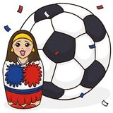 Cute Matryoshka Doll like a Cheerleader and Soccer Ball, Vector Illustration. Poster with a pretty matryoshka doll painted like a cheerleader holding pom poms Stock Photo