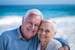 Cute mature couple embracing on the beach Royalty Free Stock Photos
