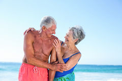 Cute mature couple embracing on the beach Stock Images