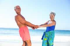 Cute mature couple holding hands on the beach Stock Image