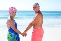 Cute mature couple holding hands on the beach Stock Images