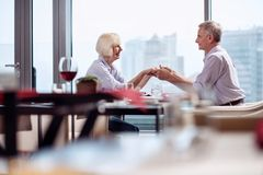 Cute mature couple holding hands royalty free stock photos