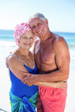 Cute mature couple hugging on the beach. On a sunny day Stock Image