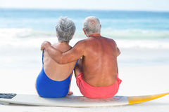 Cute mature couple sitting on a surfboard. On the beach Stock Photography