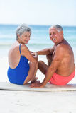 Cute mature couple sitting on a surfboard Stock Photos