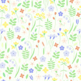 Cute meadow grass and flowers seamless vector background. Cornflowers, lilies of the valley and various herbs Stock Photography