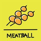 Cute meatball hand-drawn style, vector illustration. Cute meatball hand-drawn style,drawing,hand drawn vector illustration Royalty Free Stock Photos