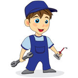 Cute mechanic boy Stock Photography