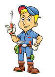 Cute mechanic cartoon holding a screw Royalty Free Stock Photography