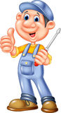 Cute mechanic cartoon holding a screwdriver and giving thumbs up Royalty Free Stock Image