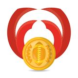 Cute medal to win the championship in the sport game. Vector illustration Stock Photography