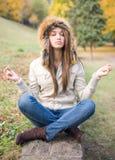 Cute meditation. Stock Photo