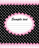 Cute memo template with pink lace. And white dots, vector illustration Stock Image
