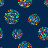 Cute memphis style seamless geometric pattern with circles. Vector illustration Royalty Free Illustration