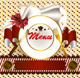 Cute menu design with plate and banner Stock Image