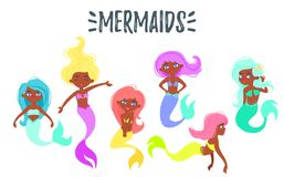 Cute mermaid Afro-american character royalty free illustration