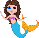 Cute mermaid cartoon Stock Image
