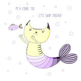 Cute mermaid cat. Hand drawn vector doodle of cute funny mermaid cat swimming with little fish, with text. Isolated objects on white background. Design concept Stock Photography