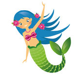 Cute Mermaid character in Cartoon Style. Blue haired undine. vector illustration Stock Image
