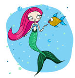 Cute Mermaid character with fish. Cartoon hand drawn style. Cute Mermaid with friendly fish. Fairy undine princess. Vector illustration in cartoon hand drawn Stock Photo
