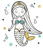 Cute Mermaid character in hand drawn style. vector illustration. Fairy undine princess. Sticker, paperdoll, coloring book, kids vector illustration Royalty Free Stock Image