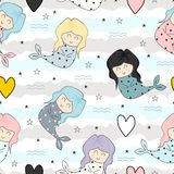 Cute mermaid childish drawing colorful cartoon seamless pattern background for kids and baby fashion textile ready for print. Design water vector girl character vector illustration