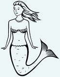 Cute mermaid with curly hair stock illustration