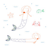 Cute mermaid dachshunds. Hand drawn vector illustration of cute dachshund mermaids, with starfish, fish and crab, swimming in the sea. Isolated objects on white royalty free illustration