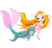 Cute Mermaid and dolphin. Illustration of cute mermaid swimming with dolphin Stock Images
