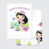 Cute mermaid girl with crab and whale in the sea vector cartoon illustration Stock Images