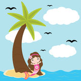 Cute mermaid girl is happy on beach  cartoon, summer postcard, wallpaper, and greeting card Royalty Free Stock Image