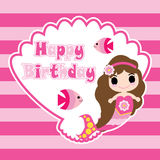 Cute mermaid girl on shellfish frame and striped background  cartoon, birthday postcard, wallpaper, and greeting card Royalty Free Stock Photo