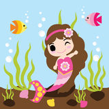 Cute mermaid girl is swimming with fishes in the water vector cartoon, kid postcard, wallpaper, and greeting card Stock Image