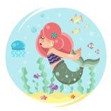 Cute mermaid girl swimming in sea ocean water bottom character icon flat design Stock Photo