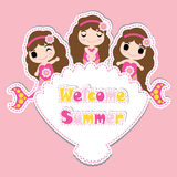 Cute mermaid girls on shellfish frame  cartoon, summer postcard, wallpaper, and greeting card Royalty Free Stock Image