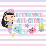 Cute mermaid and her friends are dancing vector cartoon illustration Stock Image