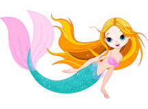 Cute Mermaid. Illustration of swimming cute mermaid Stock Images